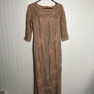 Js collection mesh Pearl maxi bodycon blush dress